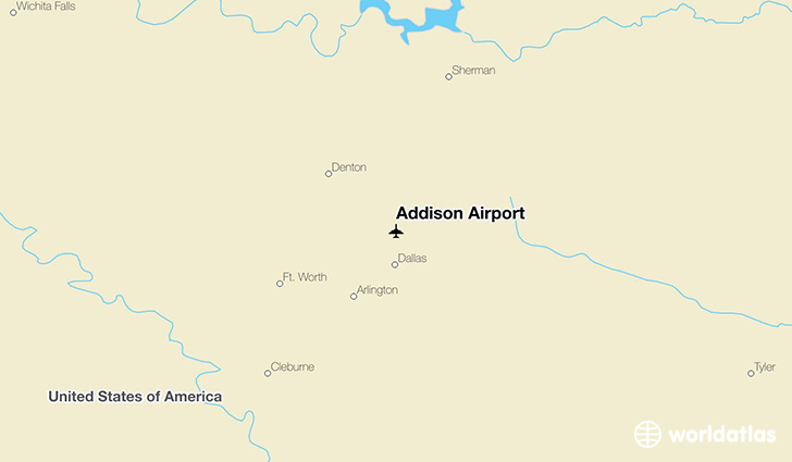 Addison Airport location on a map