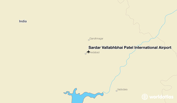 Sardar Vallabhbhai Patel International Airport location on a map