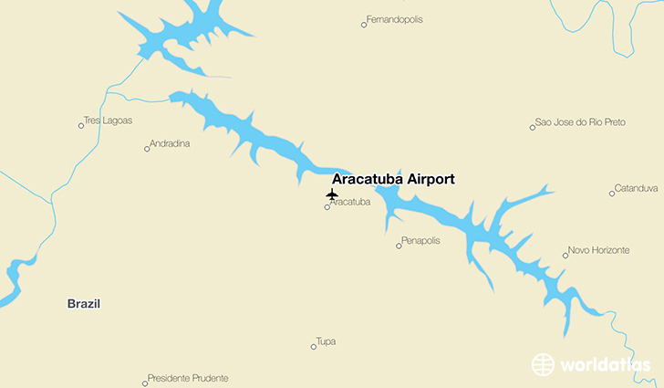 Araçatuba Airport location on a map