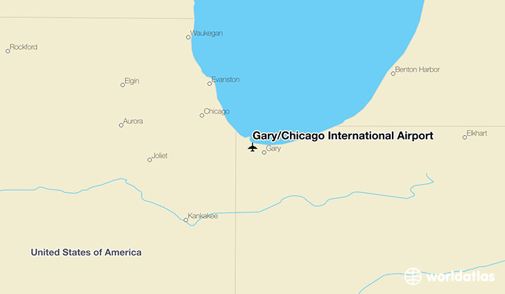 Gary/Chicago International Airport location on a map