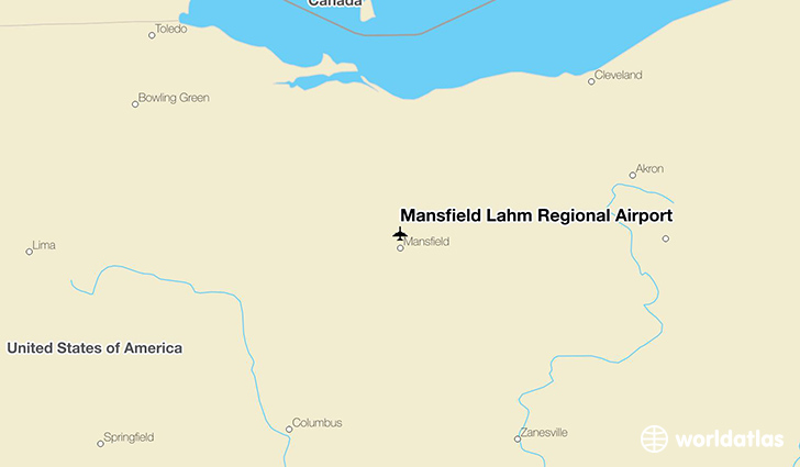 Mansfield Lahm Regional Airport location on a map