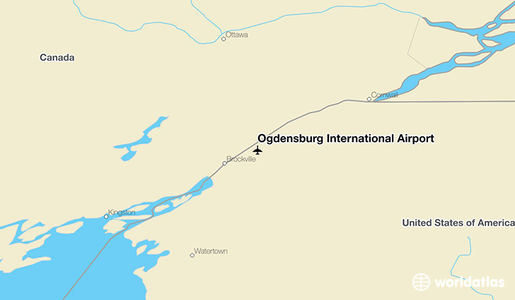 Ogdensburg International Airport location on a map