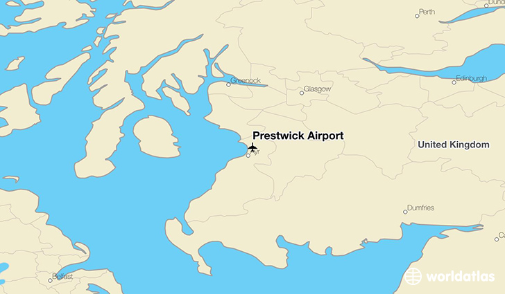 Prestwick Airport location on a map