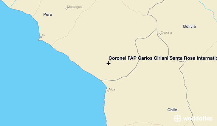 Coronel FAP Carlos Ciriani Santa Rosa International Airport location on a map