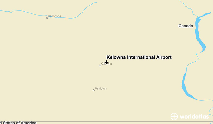 Kelowna International Airport location on a map