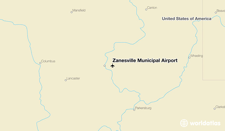 Zanesville Municipal Airport location on a map