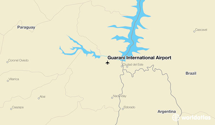 Guaraní International Airport location on a map