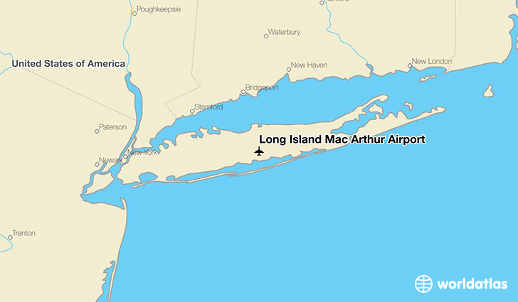 Long Island Mac Arthur Airport location on a map