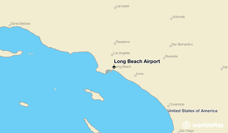 Long Beach Airport location on a map