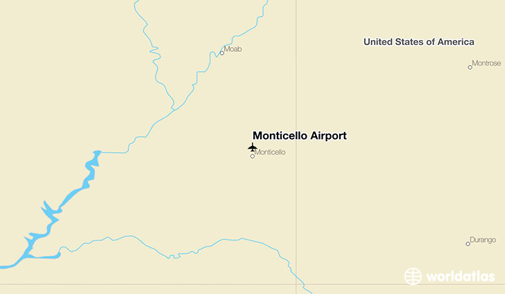 Monticello Airport location on a map