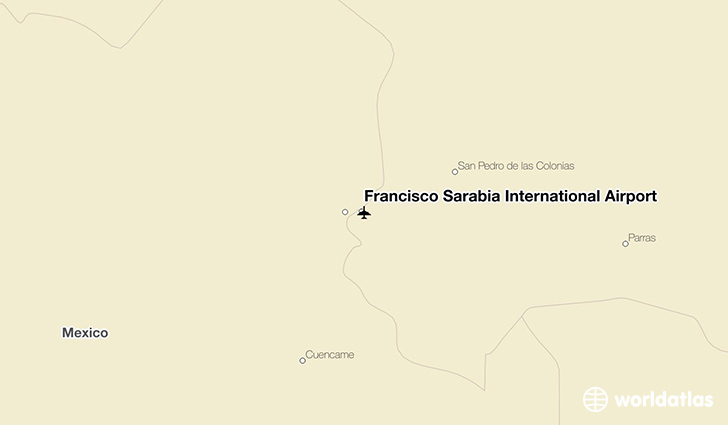 Francisco Sarabia International Airport location on a map