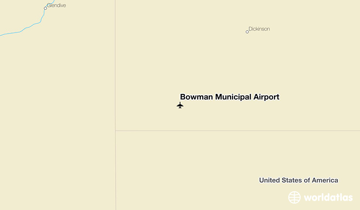 Bowman Municipal Airport location on a map