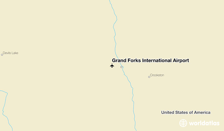 Grand Forks International Airport location on a map