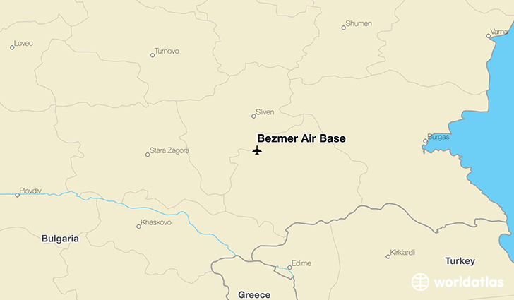 Bezmer Air Base location on a map