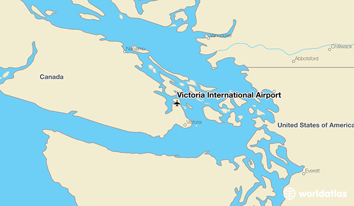 Victoria International Airport location on a map