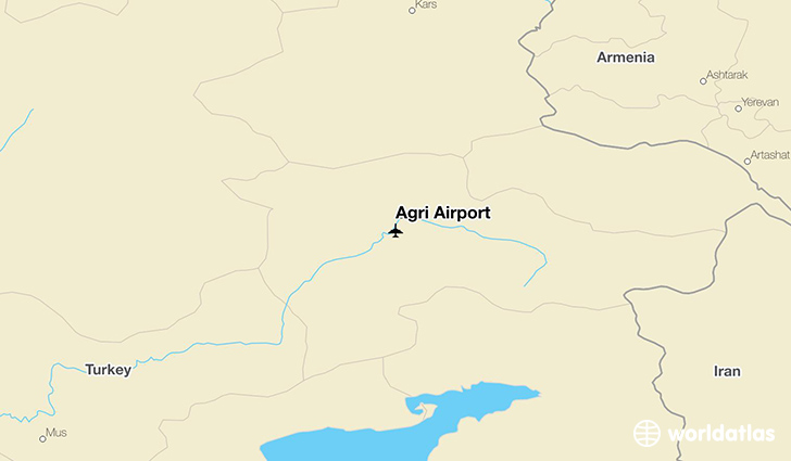 Ağrı Airport location on a map