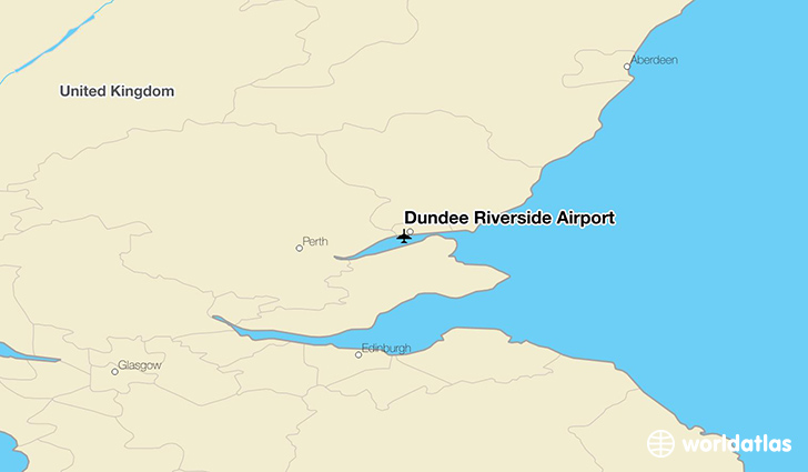 Dundee Riverside Airport location on a map