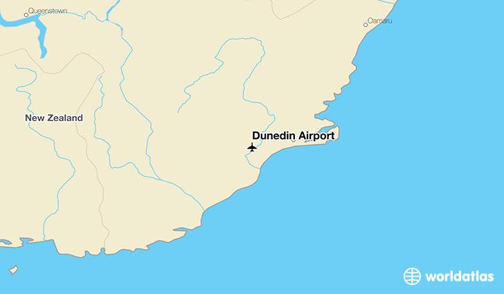 Dunedin Map New Zealand.Dunedin Airport Dud Worldatlas