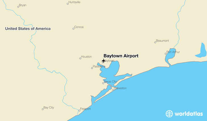 Baytown Airport location on a map
