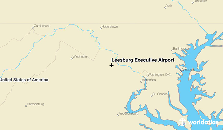 Leesburg Executive Airport location on a map