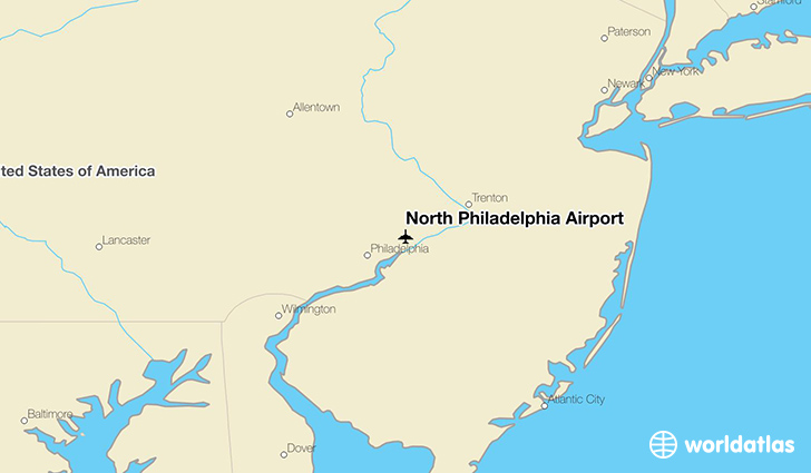 North Philadelphia Airport location on a map