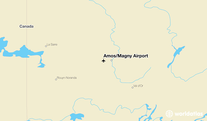 Amos/Magny Airport location on a map