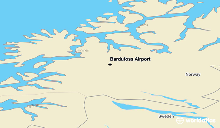 Bardufoss Airport location on a map