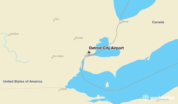 Detroit City Airport location on a map