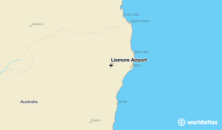 Lismore Airport location on a map