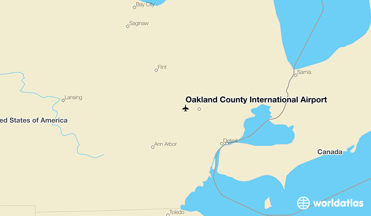 Oakland County International Airport location on a map