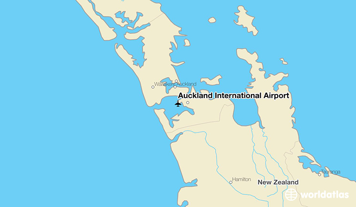 Auckland International Airport location on a map
