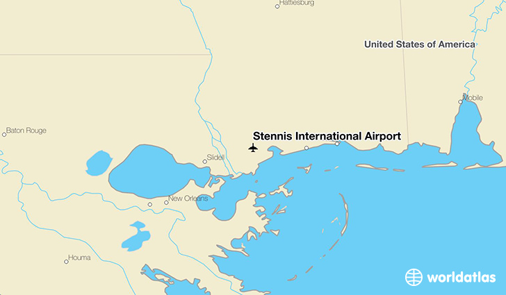 Stennis International Airport location on a map