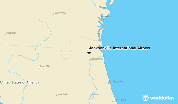 Jacksonville International Airport location on a map