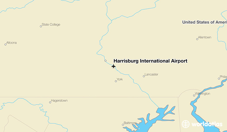 Harrisburg International Airport location on a map