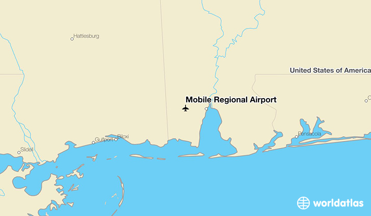 Mobile Regional Airport location on a map