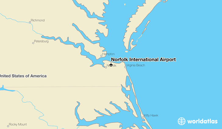 Norfolk International Airport location on a map