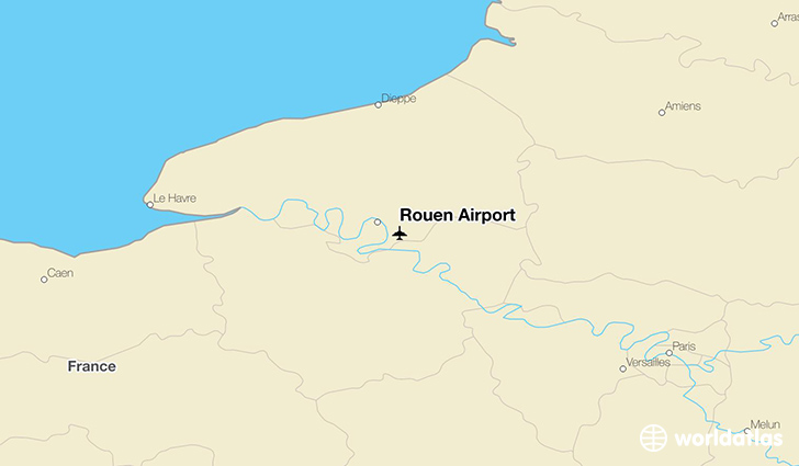 Rouen Airport location on a map