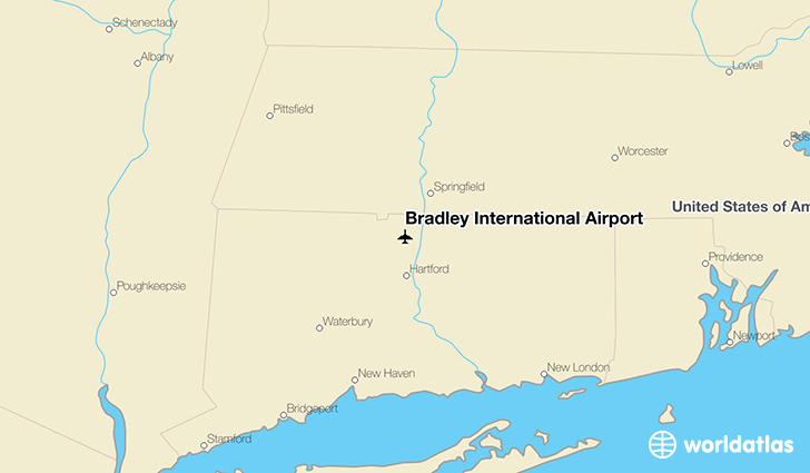 Bradley International Airport location on a map
