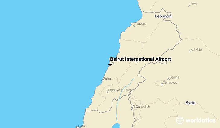 Beirut International Airport location on a map