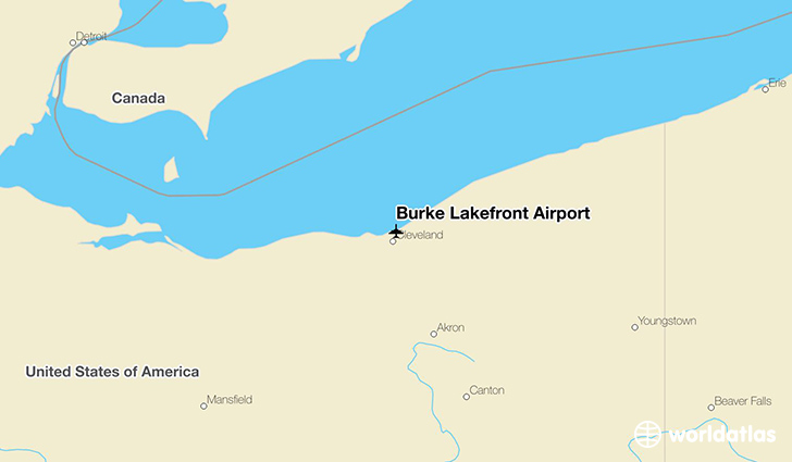 Burke Lakefront Airport location on a map