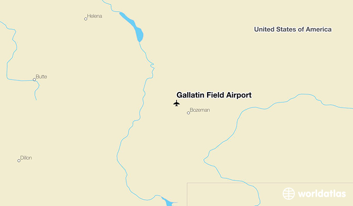 Gallatin Field Airport location on a map