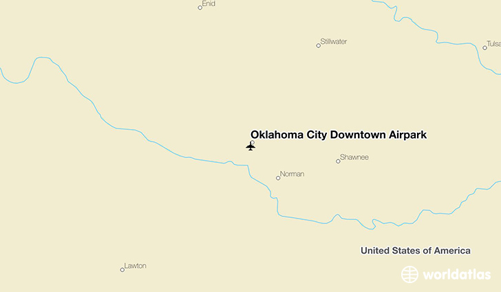 Oklahoma City Downtown Airpark location on a map