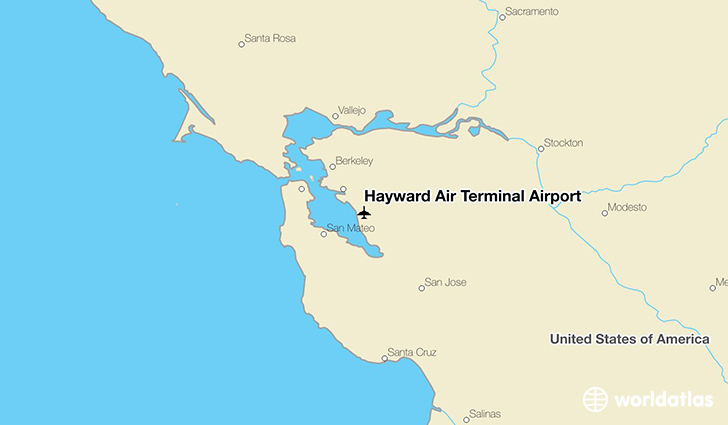 Hayward Air Terminal Airport location on a map