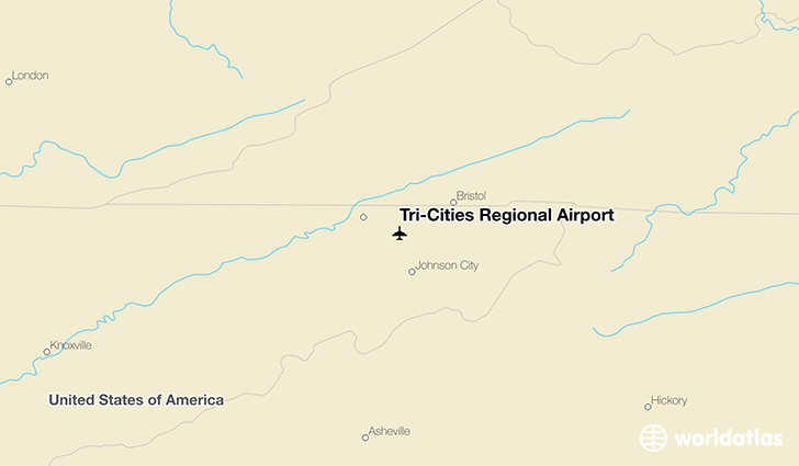 Tri-Cities Regional Airport location on a map