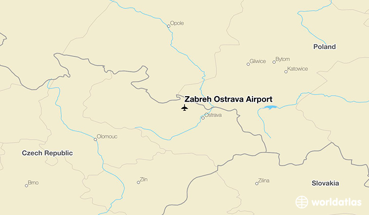 Zabreh Ostrava Airport location on a map