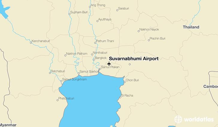 Suvarnabhumi airport bkk worldatlas suvarnabhumi airport location on a map publicscrutiny Image collections