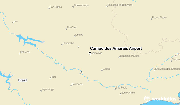 Campo dos Amarais Airport location on a map