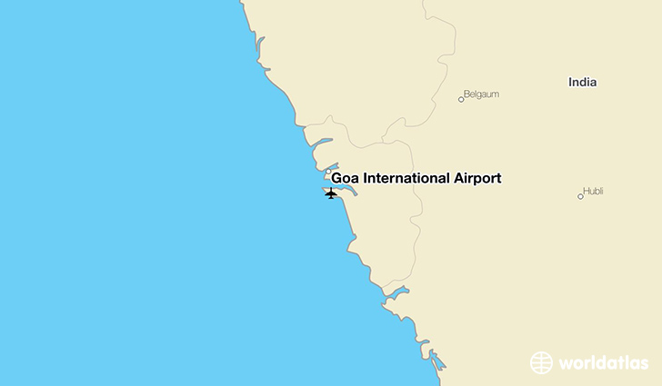 Goa International Airport location on a map
