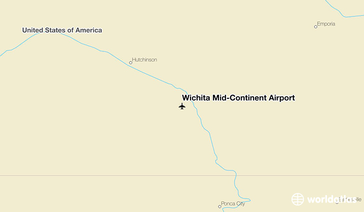 Wichita Mid-Continent Airport location on a map