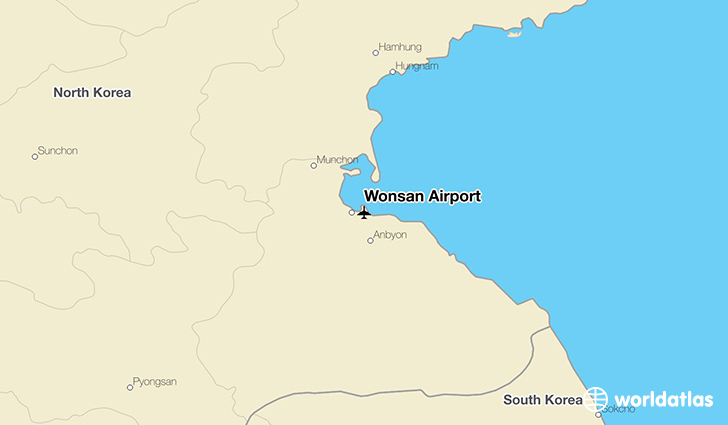 Wonsan Airport location on a map